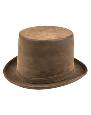 Brown steampunk top hat for adults