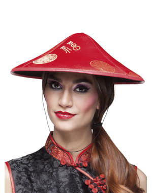 Red Chinese kasa hat for adults