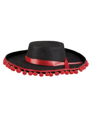 Chapéu cordovês preto com borlas vermelhas para adulto