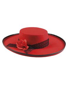 e188b8a3a22b3 Chapéu cordovês vermelho com flor para mulher
