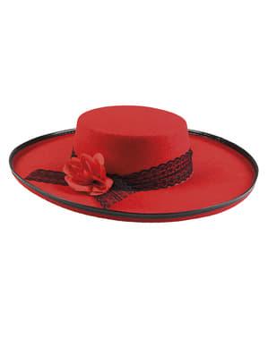 Chapéu cordovês vermelho com flor para mulher