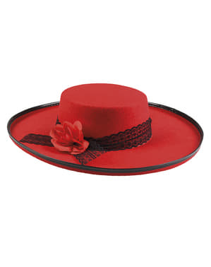 Red Cordobes hat with flower for women