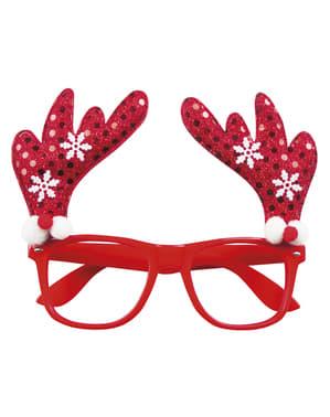 Yetişkinler için ren geyiği boynuzlu kırmızı gözlük