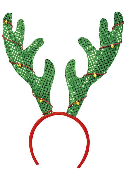Bandolete de cornos de rena verdes para adulto