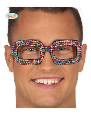 Kadınlar için çok renkli hippi diamante gözlük