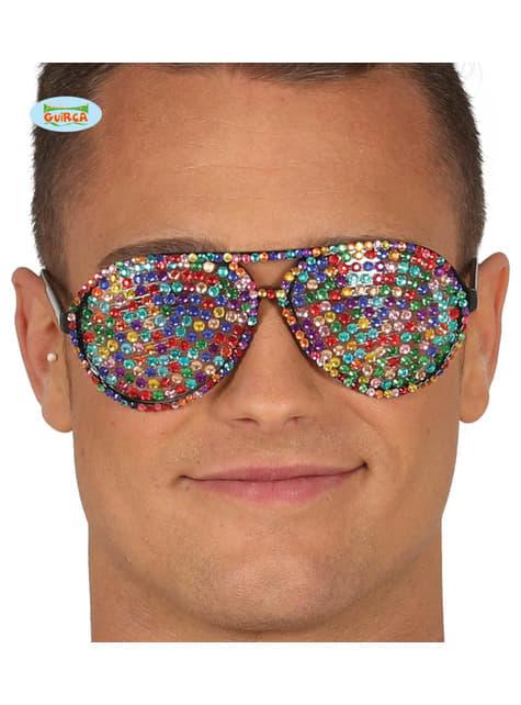 Gafas multicolor con brillantes incrustados