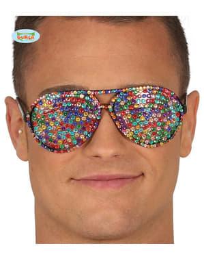 Çok renkli diamante gözlükleri