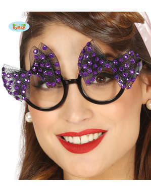 Kadınlar için iki adet mor fiyonklu gözlük
