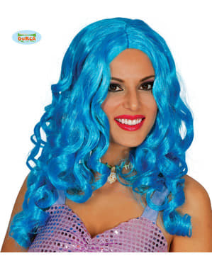 Peluca de sirena azul de rizos larga para mujer
