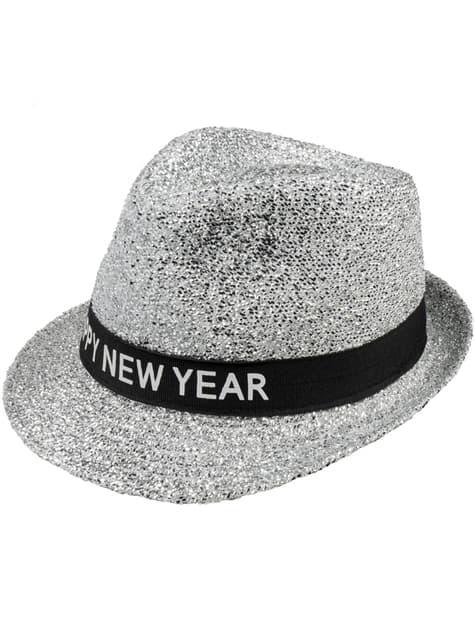 Pălărie argintie Happy New Year pentru adult