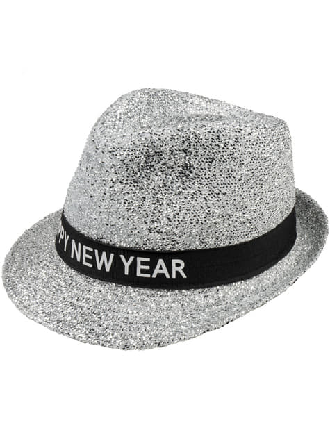 Sombrero plateado Happy New Year para adulto