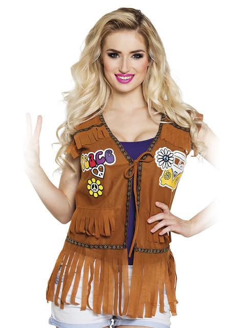 Kamizelka zamszowa z frędzelkami hippie damska