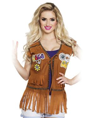 Semsket skinn vest med hippie frynser for dame