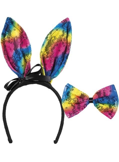 Diadema de conejita tricolor para adulto - para tu disfraz