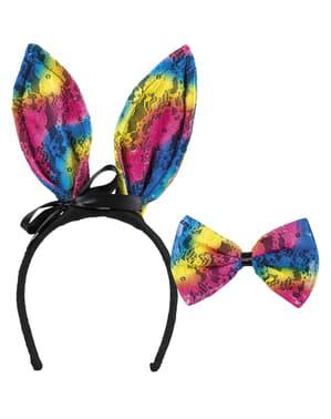 Čelenka s barevnýma králičíma ušima pro dospělé