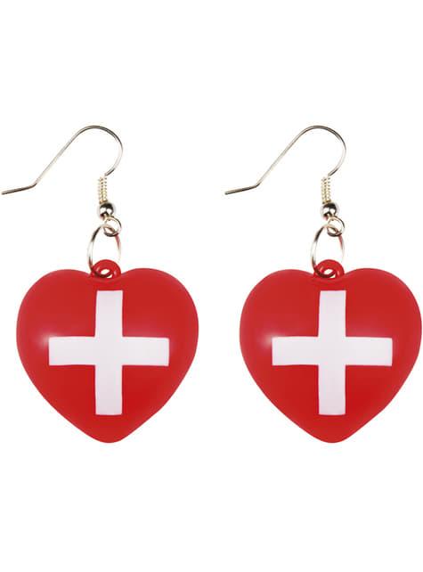 Pendientes de enfermera con corazón para mujer