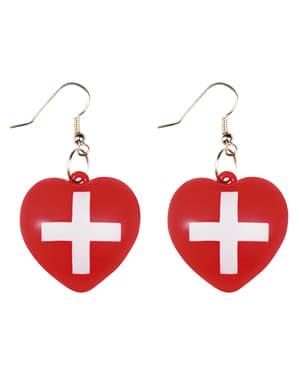 Brincos de enfermeira com coração para mulher