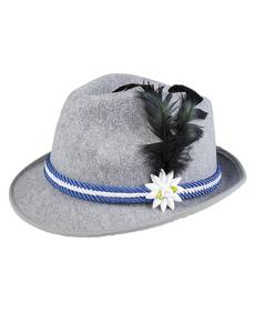Chapéu de bávaro azul com pluma e edelweiss ...  class