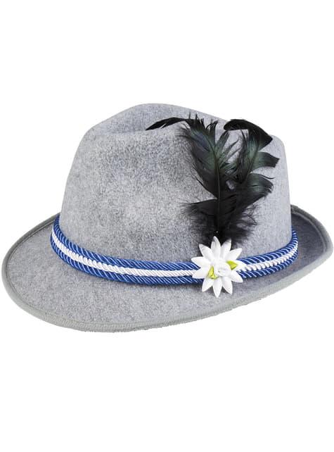 Chapéu de bávaro azul com pluma e edelweiss