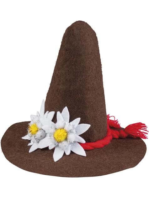 Sombrero estilo bávaro con edelweiss para adulto
