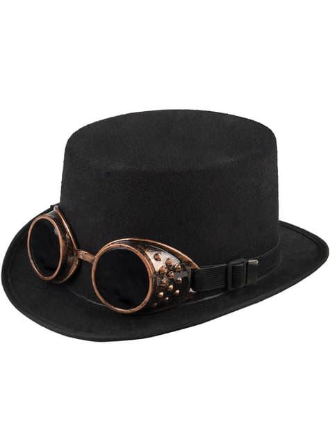 Černý steampunk klobouk pro dospělé