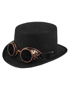 Chapéu de copa preto steampunk para adulto