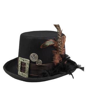 Black Steampunk Hat with Buckle and Feathers for Adults