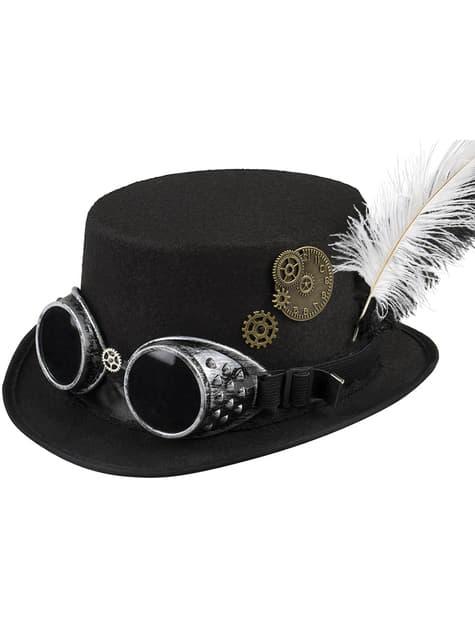 Chapeau haut-de-forme avec lunettes et plumes steampunk adulte