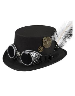 Чорний капелюх в стилі стімпанк з окулярами та пером