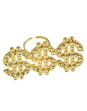 Ring mit drei Dollarzeichen für Frauen