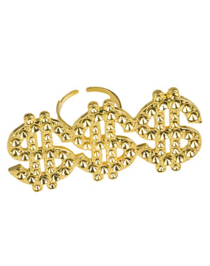 Triple dollar sign ring for woman