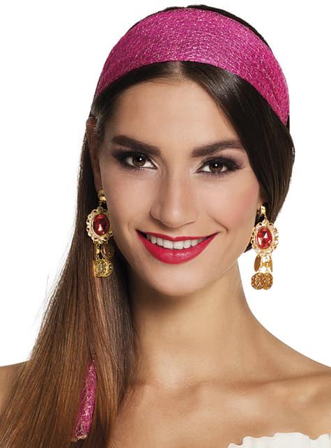 Pendientes de gitana buganvilla para mujer - para tu disfraz