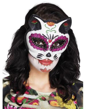 Máscara de Catrina felina para mulher