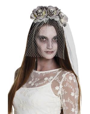 Čelenka s květinami a lebkami pro zombie nevěstu