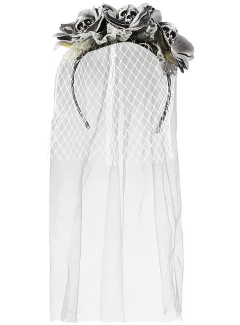 Diadema con flores y calaveras de novia zombie para mujer - para tu disfraz
