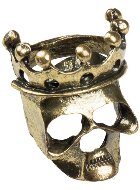 Anillo calavera con corona para mujer