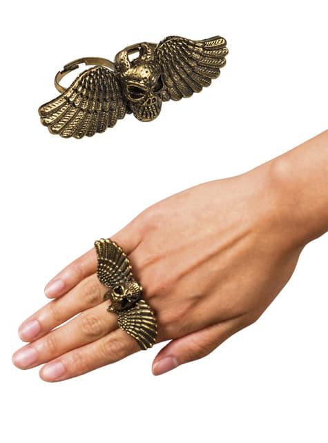 Anillo calavera con alas para mujer