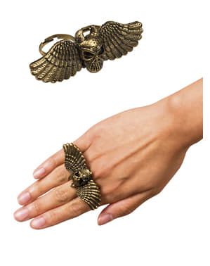 Anel caveira com asas para mulher