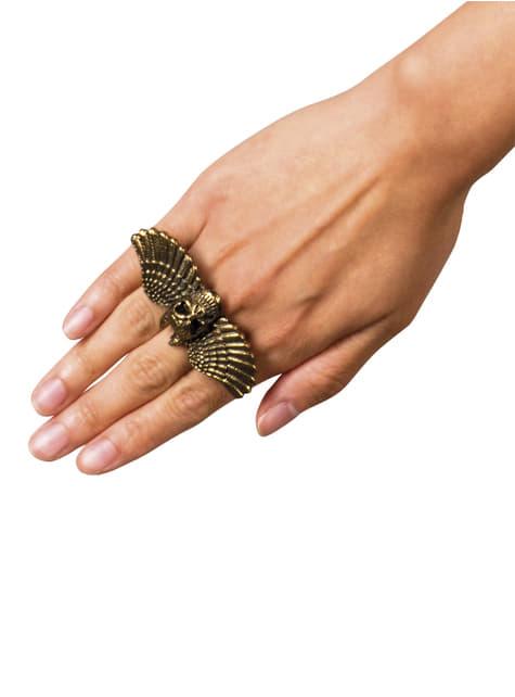 Bague tête de mort avec ailes femme