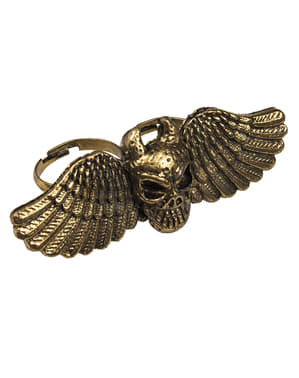 Inel craniu cu aripi pentru femeie