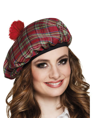 Červený skotský klobouk pro dospělé