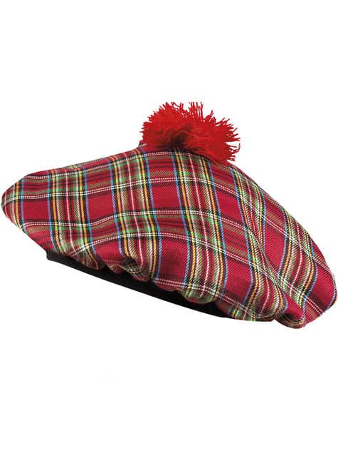 Kapelusz szkocki czerwony dla dorosłego