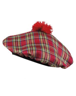 Cappello scozzese rosso per adulto