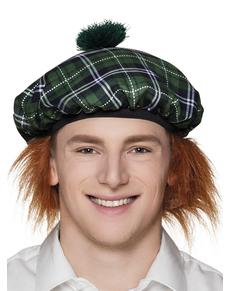 Gorro escocés verde con pelo para adulto