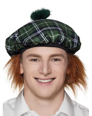 Zelený Skotský klobouk s vlasy pro dospělé