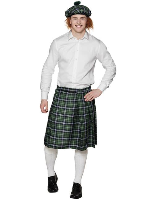 Gorro escocés verde con pelo para adulto - para tu disfraz