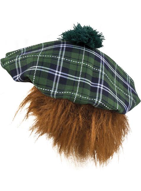 Gorro escocés verde con pelo para adulto - original