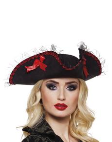 Sombrero de pirata negro con lazos rojos para mujer