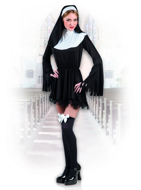 Sinful nun costume for women