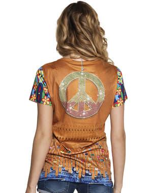 Camiseta de hippie flower power para mujer